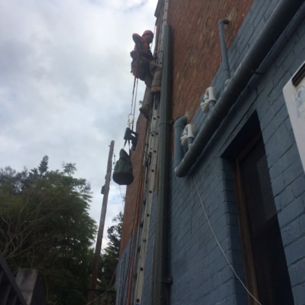 Man in the ladder doing vent installation